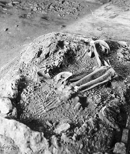 The excavated grave of the Magdalenian Woman in Cap Blanc, France