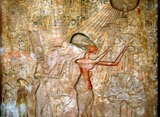 Amarna Period stela of Akhenaten and Nefertiti