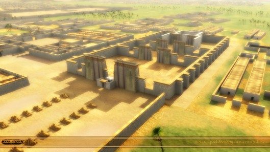 Artist's concept of the city of Akhetaten, showing the Great Temple to the Aten, the city's principal temple.