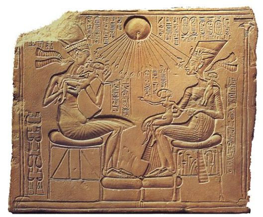Amarna Period stela of Akhenaten, Nefertiti, and their daughters.