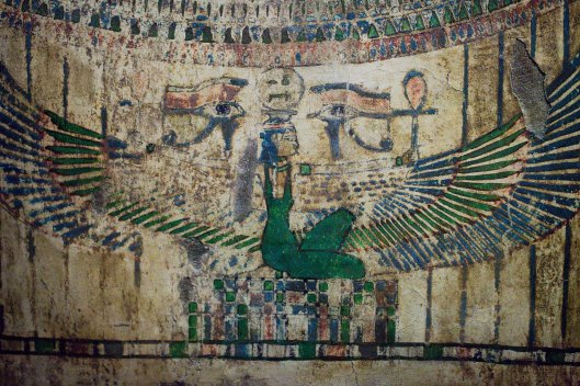 The goddess Nut, wings spread to protect Harwa